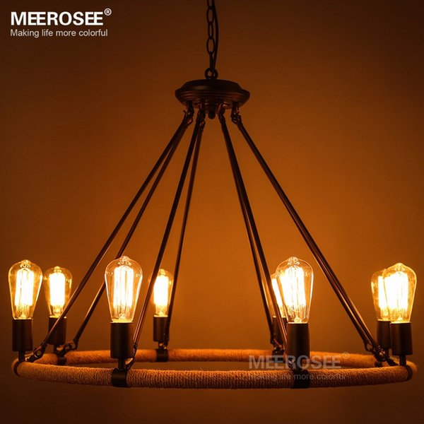Vintage pendant light fitting American style Rope drop lamp lustre Antique Edision bulb suspension light for Living room pendant