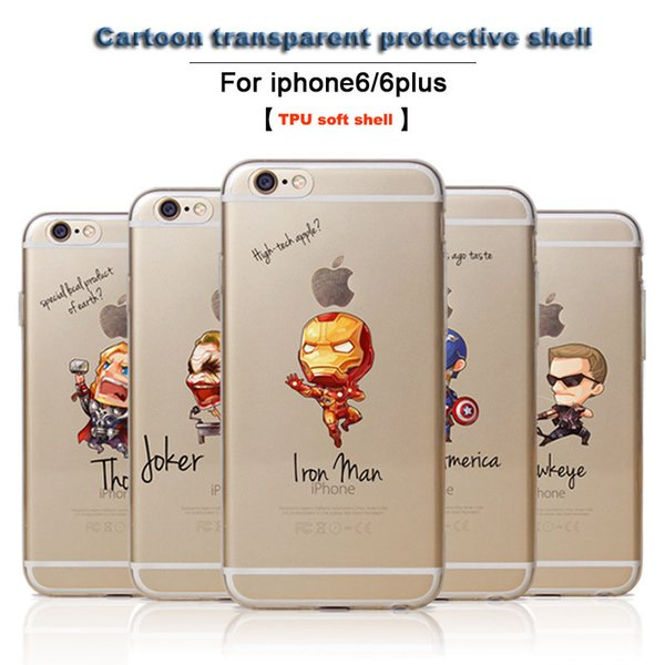 Cheap Q version of avengers alliance phone case for iphone7/6plus/5S with cartoon wrap transparent TPU cell phone protective soft shell