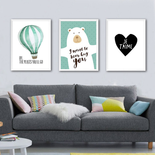 Nordic Art Kawaii Cartoon Beer Balloon Canvas Poster Minimalist Painting Funny Wall Picture Print Modern Children Room Decoration