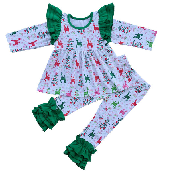 T-shirt primavera e autunno per ragazze insieme pantaloni Ruffle Renna stampa abbigliamento per ragazze di Natale Set Stella Boutique Clothing Set