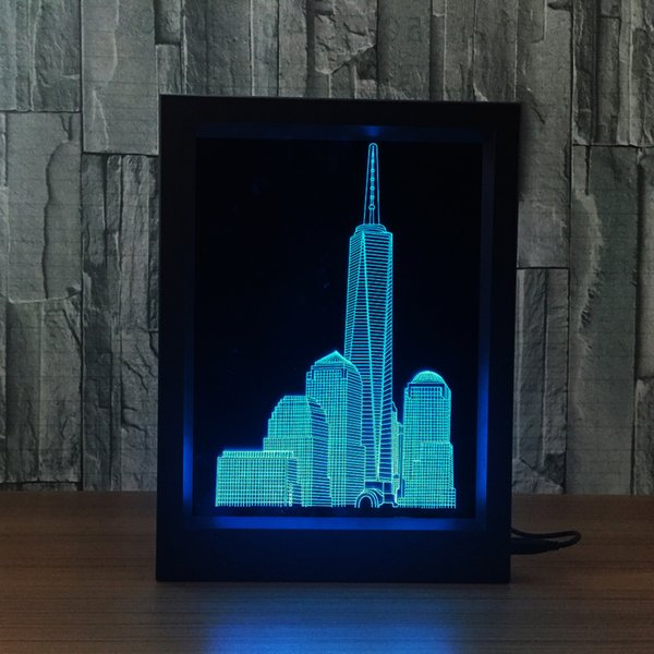3D Building Lamp LED Photo Frame IR Remote 7 RGB Lights Battery or DC 5V Factory Wholesale Dropship Free Shipping