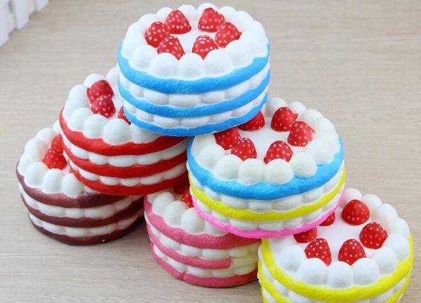 best selling Cheap Kawaii Strawberry Cake Squishy Slow Rising Cream Cake Mango Yellow Rosy Blue Kids New Year Toy Gift