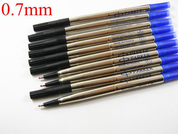 shushuihong / 10pcs metal azul negro Buena calidad 0.7mm Rollerball Pen recargas