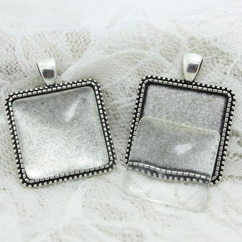 top popular Sweet Bell 6 set Antique silver Alloy Square 30*38mm(Fit 25*25mm dia)Cabochon Setting Pendant Bla + Clear Glass Cabochons D0709 2019