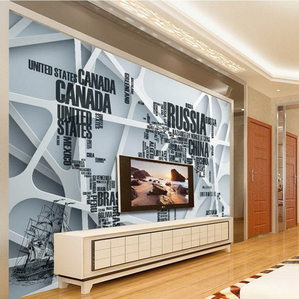 Free shipping 3d stereo custom english alphabet world map tv free shipping 3d stereo custom english alphabet world map tv backdrop living room bedroom wallpaper high gumiabroncs Image collections