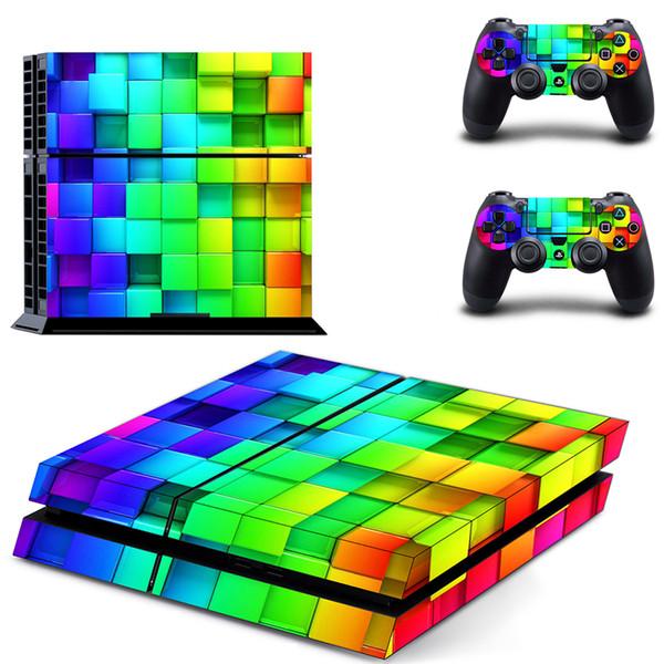 PS4 Konsole und Controller Vinyl Skin Aufkleber Aufkleber Kits für Playstation 4 - Rainbow Square Blocks (0270)