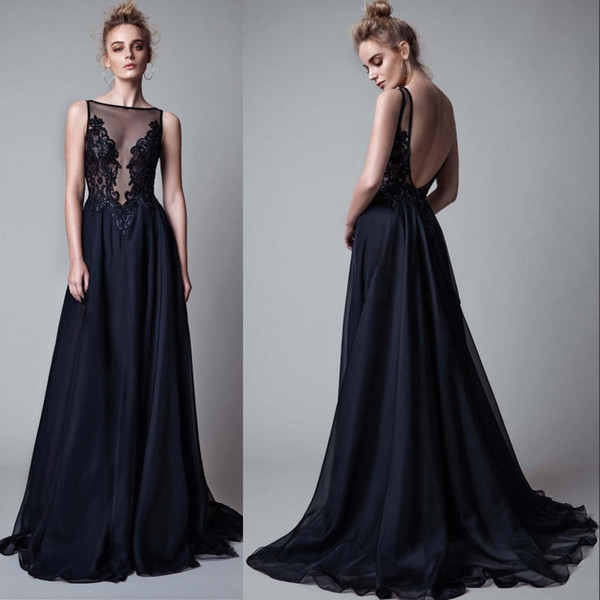 2019 Black lace appliques beaded berta evening gowns sheer beteau neckline backless sweep train evening dresses