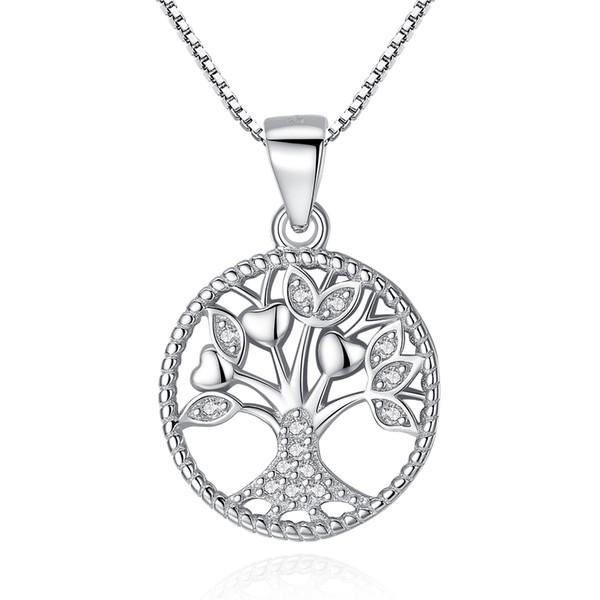 BELAWANG Venda Quente 925 Sterling Silver Link Cadeia Colares Árvore da Vida Colar de Pingente Para Mulheres Homens 925 Presente Da Jóia de Prata