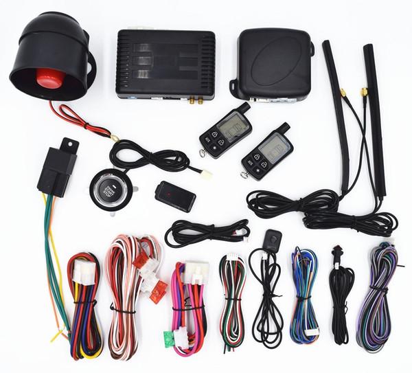 CarBest Vehicle Security Paging Car Alarm 2 Way LCD | Push Engine Start Stop Button | Passive Keyless Entry(PKE) | Car Burglar Alarm System