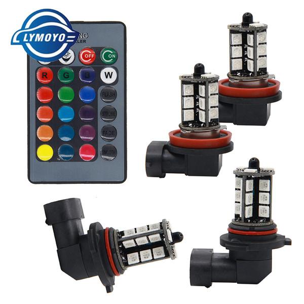 RGB LED h11 H8 led 9005 9006 HB3 HB4 5050 LED 27 SMD фар автомобиля противотуманные фары Фара лампы с пультом дистанционного управления стайлинга автомобилей