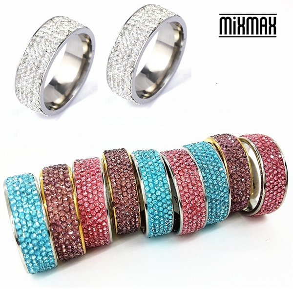 MixMax 10 unidades / pacote das mulheres 5 linhas strass prata ouro argila aço inoxidável jóias de luxo anéis lotes por atacado