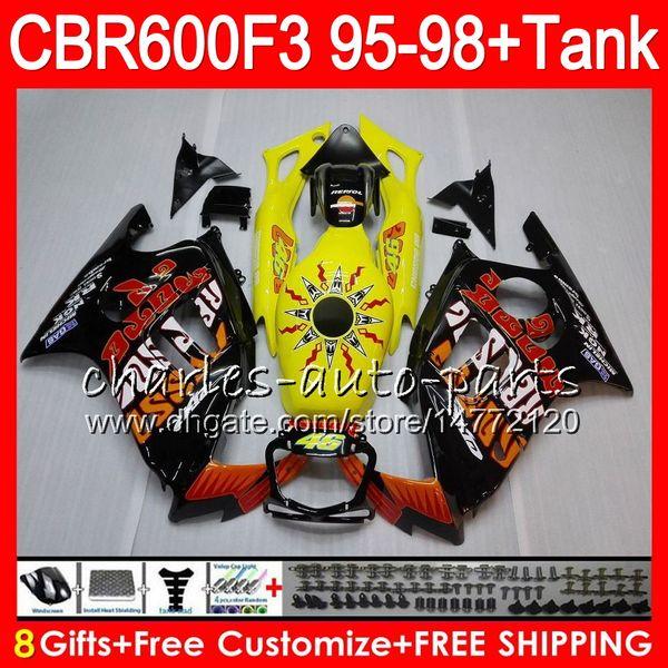 8 Gifts 23 Colors For HONDA CBR600F3 95 96 97 98 CBR600RR FS Repsol yellow 2HM7 CBR600 F3 600F3 CBR 600 F3 1995 1996 1997 1998 black Fairing