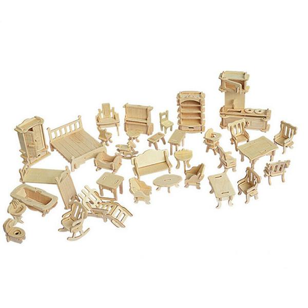 34 Pçs / set Miniatura 1:12 Casa De Bonecas Móveis para Bonecas, Mini 3D Puzzle De Madeira DIY Modelo de Construção de Brinquedos para Presente Das Crianças