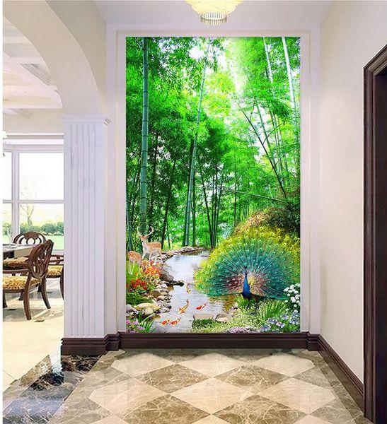 Personalizar cualquier tamaño Paisaje de paisaje de bosque de bambú tridimensional Pared de fondo de misterio 3D