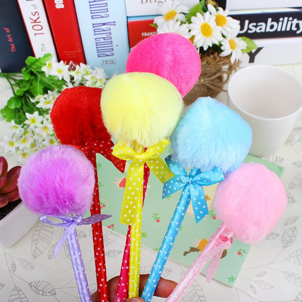 Candy colour feather ball header cut ball pens for students kids kawaii pen children stationery school party gift prize