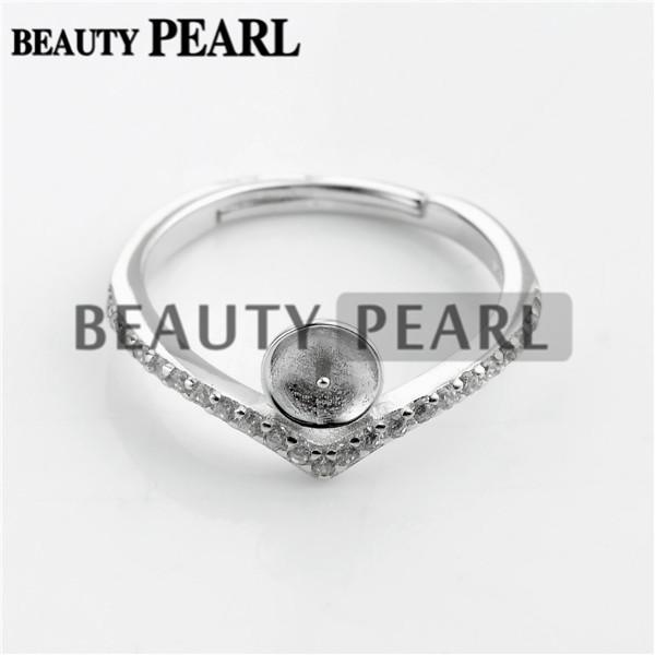 HOPEARL Takı Inci Yüzük Bulguları 925 Ayar Gümüş Zirkon DIY Yapma Boşlukları Yüzük Bankası 3 Parça