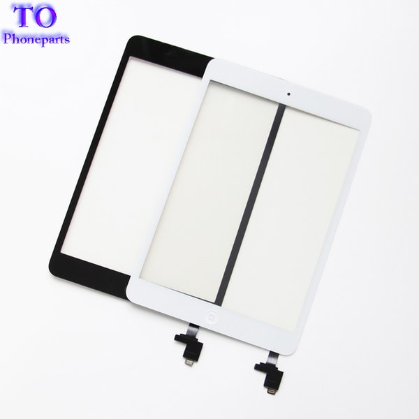 For iPad mini 1 mini 2 Touch Screen Panel Digitizer Glass Panel Lens Sensor Repair + IC +Home Button Flex free shipping