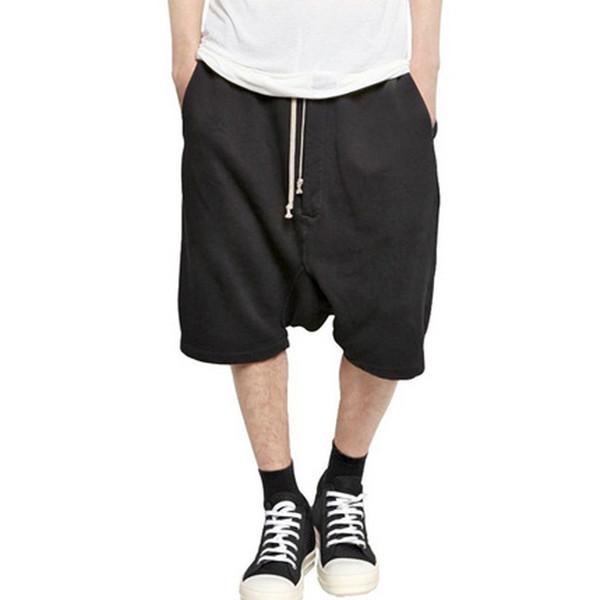 Wholesale-2016 New Black Shorts Kanye West Cool Sweatpants Mens Jumpsuit HIPHOP Rock Stage Urban Clothing Owens Dress Harem