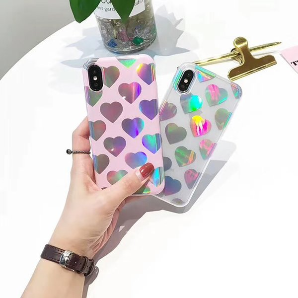 Nouveau pour iPhone 7/7 Plus / 6s affaire brillant en forme de coeur haute Qulity TPU Soft Case Retail Package livraison gratuite
