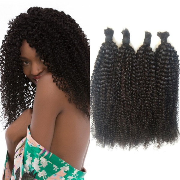 Peruvian Human Hair Bulk No Weft Afro Kinky Curly Natural Color Bulk Hair 4 Bundles for African American FDSHINE