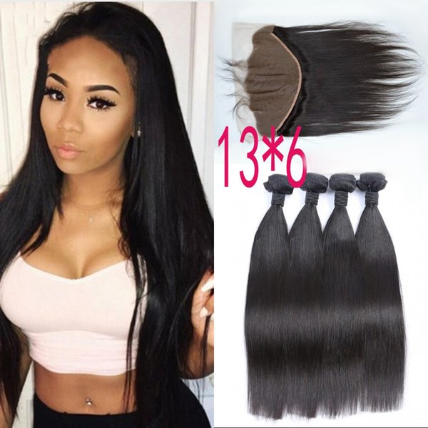 Vietnamese Straight Human Hair Bundles Non Remy With 13x6 Ear To Ear Lace Frontal Closure Free Shipping FDSHINE