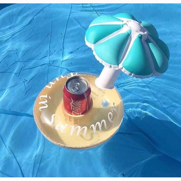 Al por mayor-12 piezas de verano caliente flotador de la piscina inflable del paraguas del árbol de la taza titular de la taza del flotador Mini bebida piscina de juguete al aire libre playa de natación