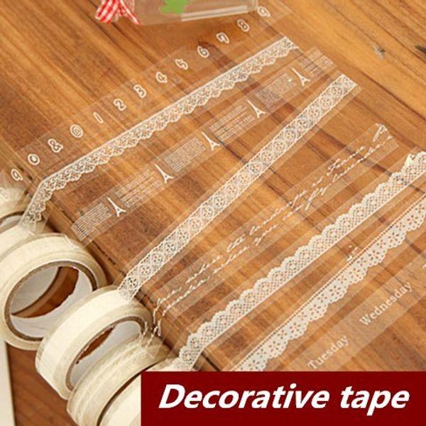 Wholesale- 2016 10 pcs/Lot Lace Adhesive tape Japanese masking tape Decorative stickers Stationery Scrapbooking sticky School supplies 6602