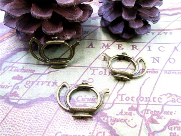 15PCs Teapot Charms, Antique Bronze Lovely Tea Pot Spacer Connector Link Caps Beads Frame Charm Pendant 19x23mm