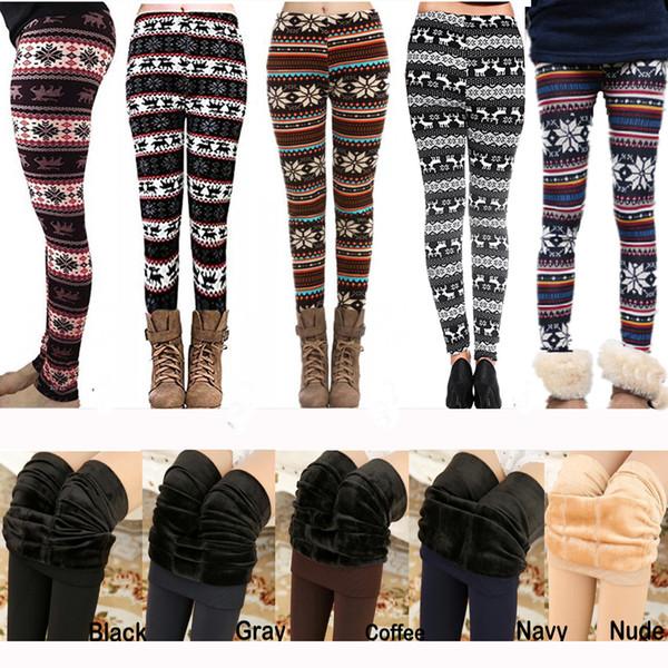 23dc6a55ca0db9 50pcs/Lot Xmas Winter Leggings for Women Fur Thick Warm Fleece Snowflake  Deer Printed Lady's
