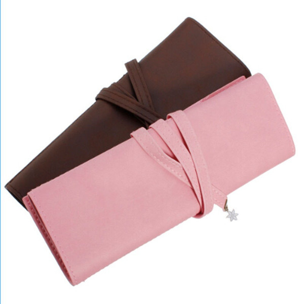 Wholesale- 1PCS Vintage Roll Makeup Brush Pen Pencil Case Fashion Faux Leather Makeup Cosmetic Bags Women Accessories Pink Coffee
