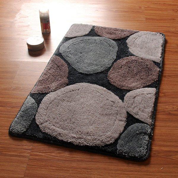 Stone Pattern Bathroom Bath Mat, Machine Wash 1 PCS Anti-Slip Bathroom Mat Rug In The Toilet, Bath Mats Bathroom Carpets Tapetes