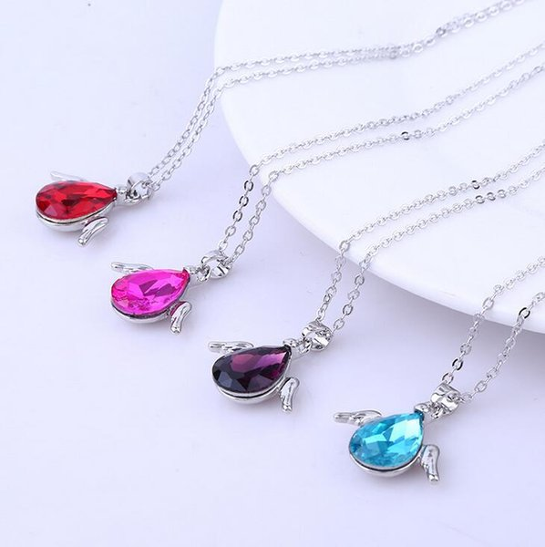 Chaud cristal strass turquoise Ailes d/'Ange Collier Chaîne Femmes Robes Collier