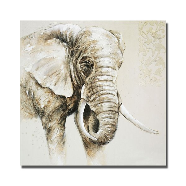 Decorative new design by hand painted cartoon elephant wild animal oil painting wall pictures for bedroom