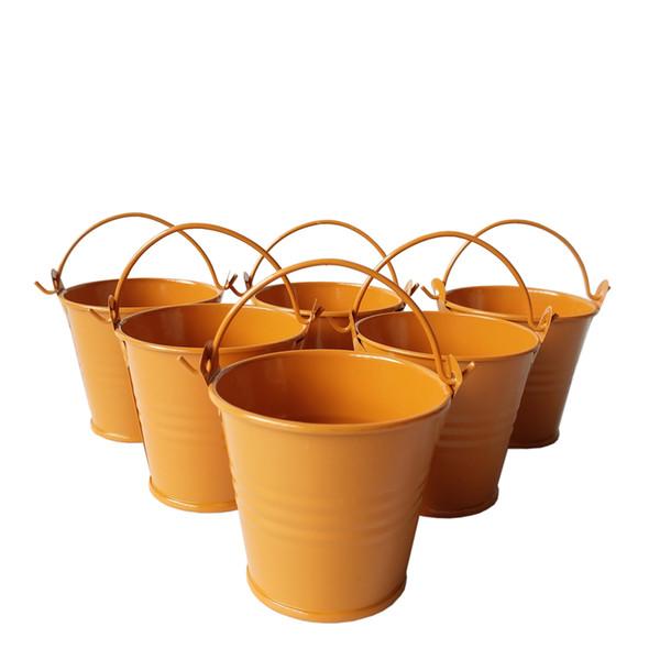 D6 * H5CM orange Metal balde Balde de Lata de lata Rústico Succlents Vasos decorativos Galvanizado Carne planta pote panelas de Ferro Favor de Partido