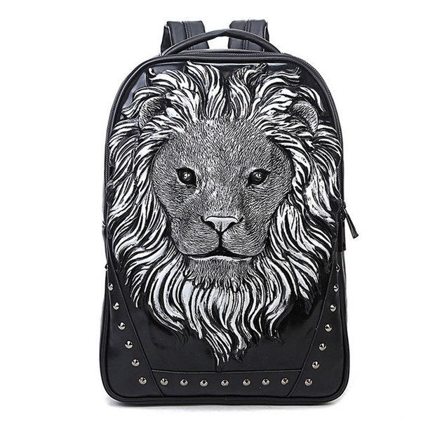 2017 New fashion 3D Lion head pattern man women backpack travel school personality bag computer laptop