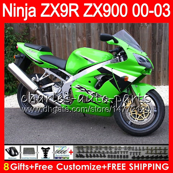 8Gifts 23Colors For KAWASAKI NINJA ZX 9 R ZX9R 00 01 02 03 900CC 40NO29 green black ZX 9R ZX900 ZX900C ZX-9R 2000 2001 2002 2003 Fairing kit