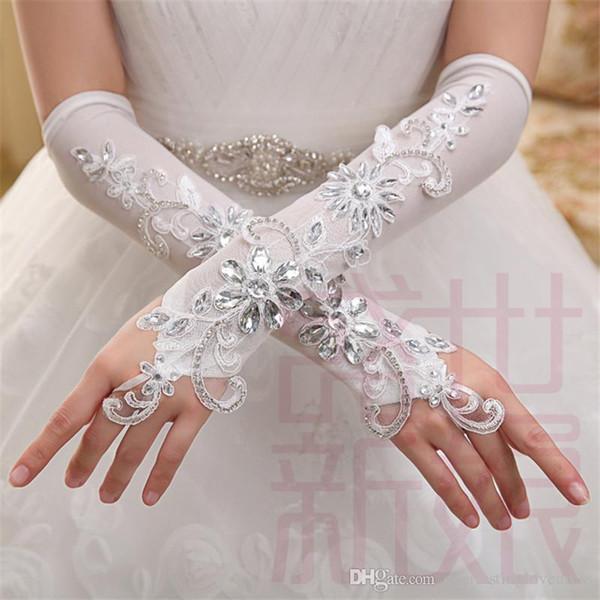 Elegant Gorgeous Ivory Elbow Length Lace crystal Fingerless Appliqued Elastic Bridal Gloves Long Beading Wedding Gloves women gloves