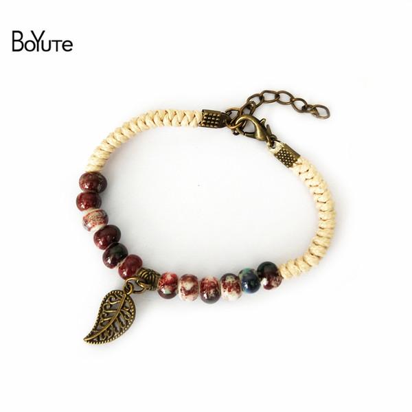 BoYuTe 5Pcs Vintage Diy Fait À La Main En Céramique Perle En Céramique Feuille Charme Réglable Bracelet Femelle De Mode Femmes Accessoires