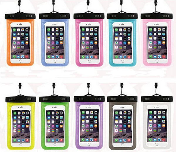 Dry Bag Waterproof case bag PVC Protective universal Phone Bag Pouch With Compass Bags For Diving Swimming For smart phone many colors