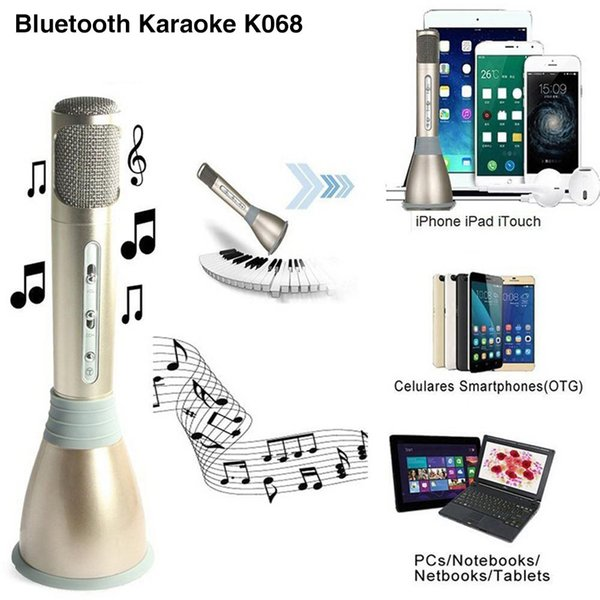 K068 Portable Wireless Bluetooth Microphone with Mic Speaker Condenser Fashion Home Mini Karaoke Player KTV Sing Record for Iphone samsung