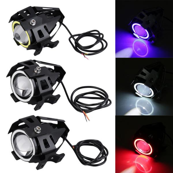 top popular Motorcycle electric car lamp U7 laser gun angel eye lens LED headlight 15W 2021