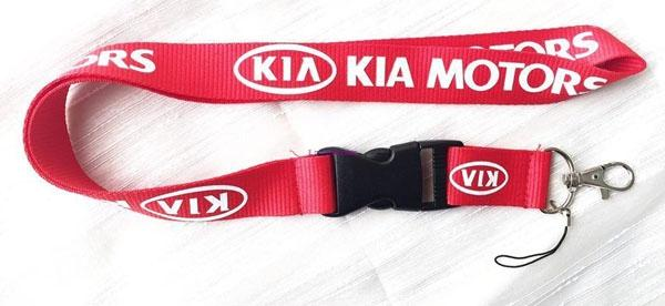 Free shipping 10 Pcs men's automobile/ car KIA logo Red KEY Chain Lanyard neck lanyards Cell Phone Straps Charms ID Holder