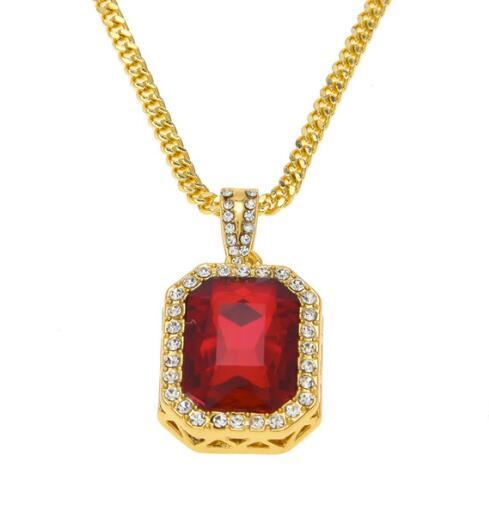 summer necklace Men Women Fashion Lced Out Rhinestone Mini Square Red Blue Gem Crystal Pendant Necklace Chain Jewelry