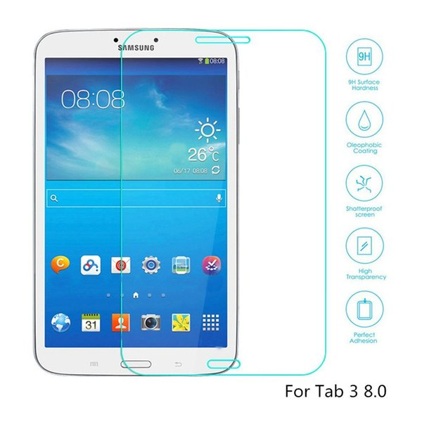 50PCS Explosion Proof 9H 0.3mm Screen Protector Tempered Glass for Samsung Galaxy Tab 3 8.0 T310 T311 free DHL