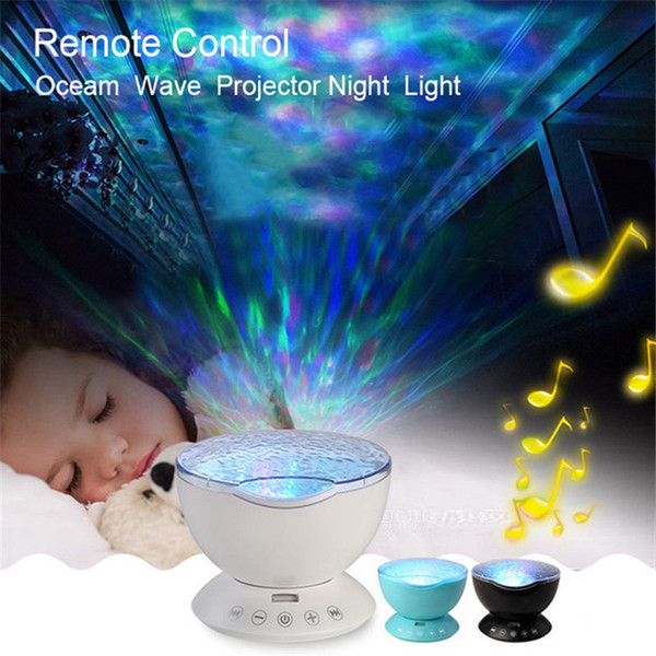 Ocean Wave Led Projector Nightlight Baby Sleeping Night Lamps + IR Remote Control 12pcs RGB Led with Built-in Speaker for Kids
