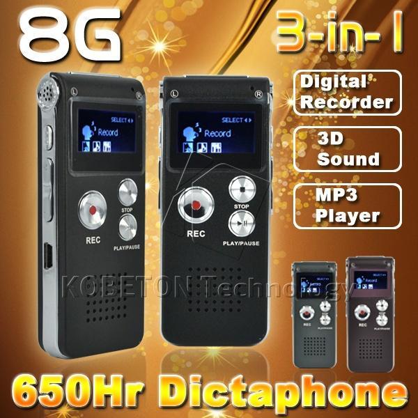 Vente en gros-8GB Mini USB Flash Drive 8G Digital Recorder vocal Enregistreur vocal 650Hr Dictaphone 3D Stéréo MP3 Lecteur Grabadora Gravador