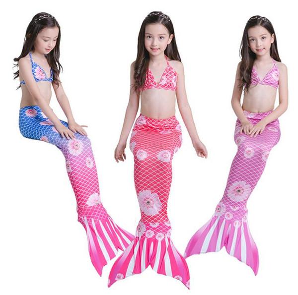 New Arrival Mermaid Swimming Bikini 3PCS Set Baby Kids Summer Swimwear Mermaid Cosplay Costume Swimsuits Children Beach Swim Bath Clothing