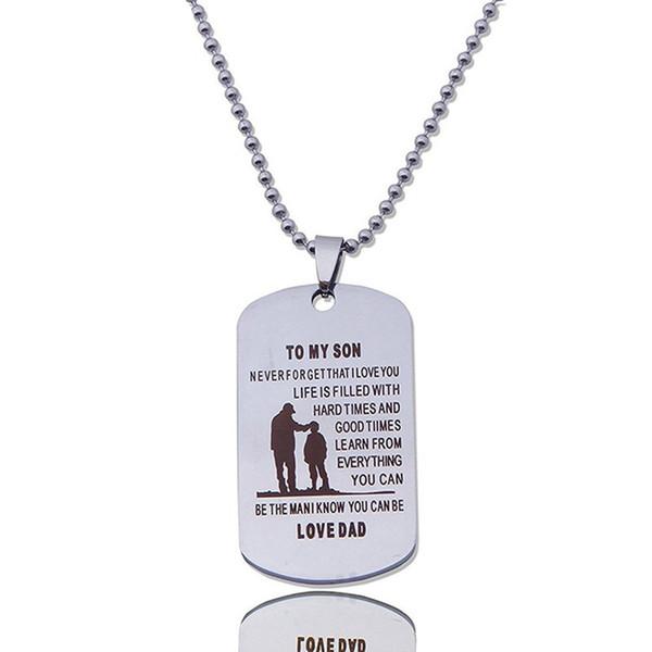 Sıcak Marka Adı Etiketi Köpek Yaka Paslanmaz Çelik Askeri Kolye Baba Oğul Hediye Kolye babalar Günü Hediye