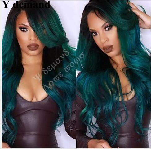 Synthetic Lace Front Wig Long Waves Ombre Black Green Brazilian Hair African American Hair Fahion Beautly Wig Y demand
