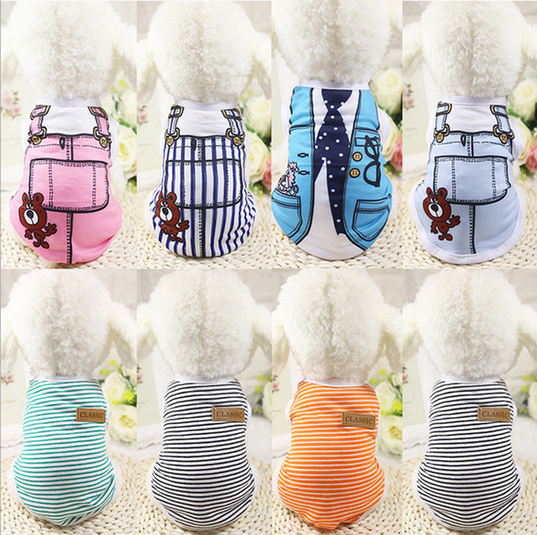 1Pc/lot Pet dog apparel T Shirt shirts Dress Vest Summer Spring large dog clothes Outfits Vest Rompers Teddy Clothes
